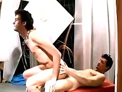 Amateur guys having banging in art studio