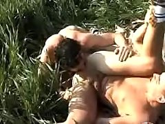 Twinks kissing and love making act on grass