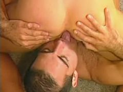 Imposing beefy studs have steamy session on floor