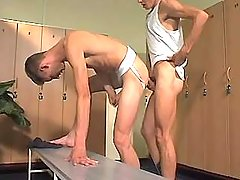 College gay fellow drills twink in checkroom