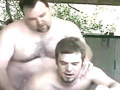Bear adult gay fucks inexpert male in garage