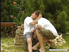 Lusty twinks lick in nature