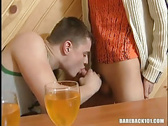 Drunk young gay sucks yummy cock