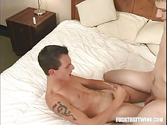 Nasty juvenile gay cums on stomach