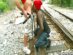 Brown twink serves white friend on railyard