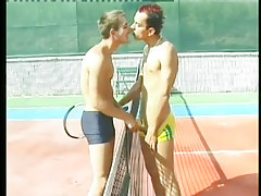 Perspired man-lovers bone beside a tennis court in 1 episode